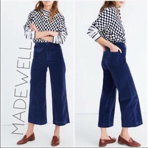 NWT Madewell velvet high rise wide leg pants 34